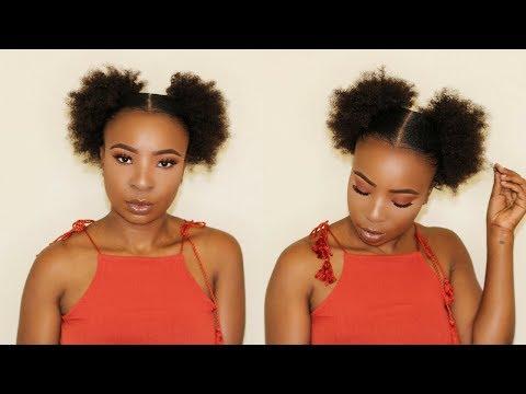DOUBLE AFRO PUFFS ON SHORT NATURAL HAIR / BRAIDLESS CROCHET PUFFS | TWA