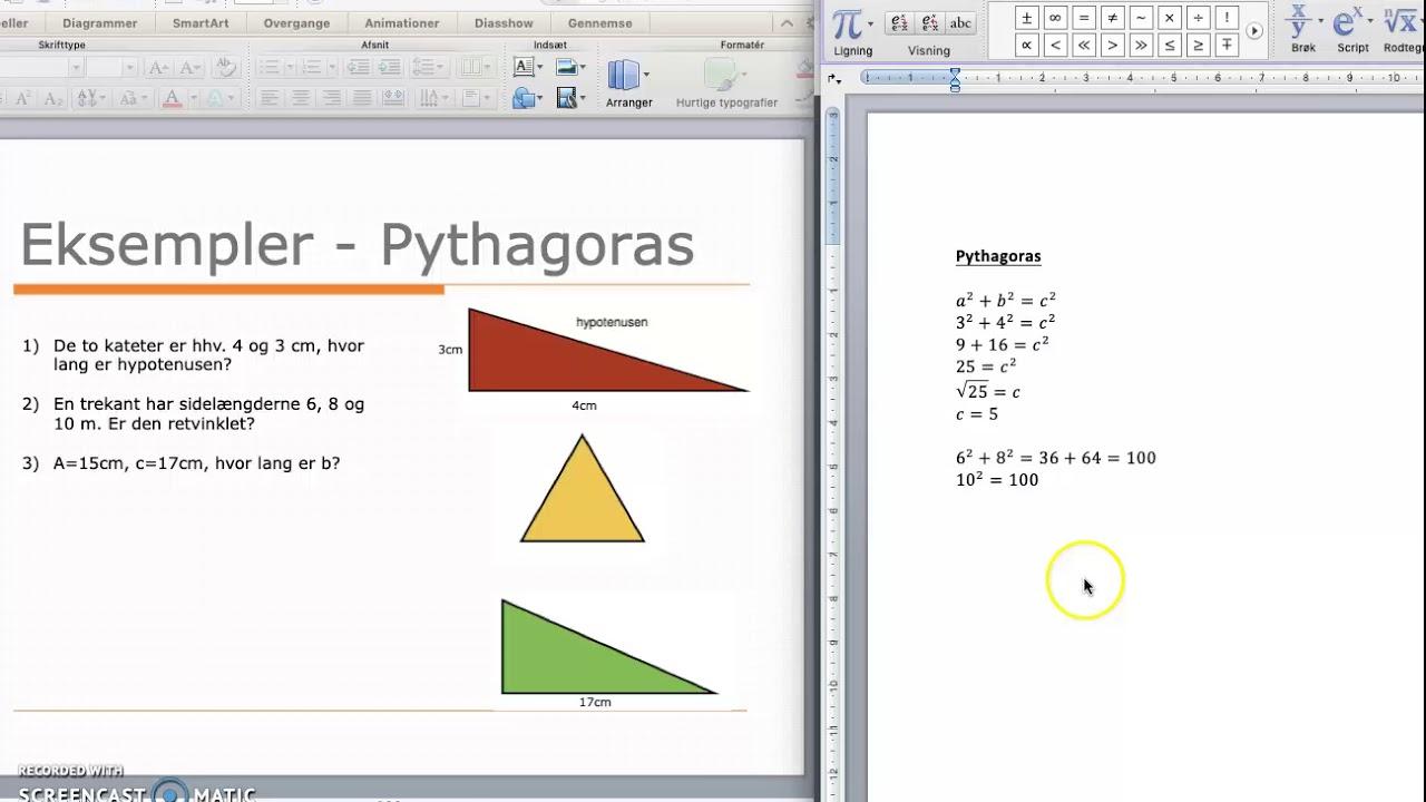 Pythagoras - Eksempler på udregning