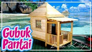 Kerajinan Stik Es krim Step by step Membuat Gubuk Pantai Mini