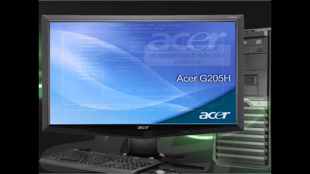 ordinateur pc de bureau acer comment activer le rtc real time clock alarm de votre pc youtube. Black Bedroom Furniture Sets. Home Design Ideas
