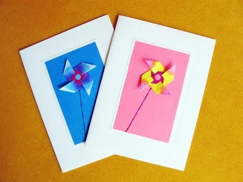 Greeting Cards Using an Easy Origami Windmill - YouTube