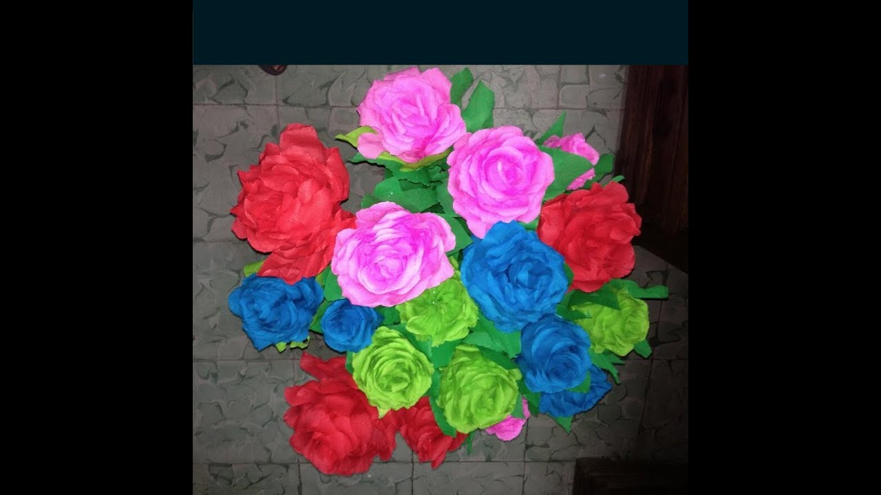 Rosas con papel crepe faciles paso a paso youtube for Manualidades con papel crepe