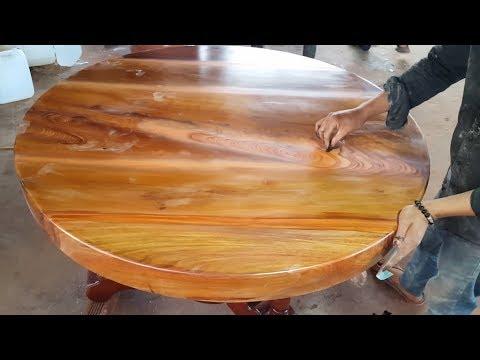 Cách xử lý vết ghép gỗ và keo AB trên mặt bàn tròn gỗ giáng hương phần 1