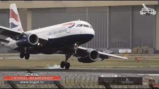 WINDY LANDINGS AT LONDON HEATHROW! - FULL SHOW
