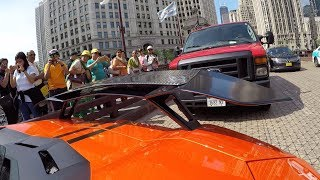 Lamborghini Aventador Loud Exhaust GoPro Peoples reaction in Chicago -5