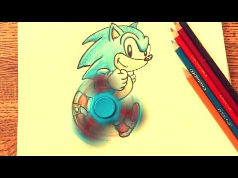 SONIC the HEDGEHOG Fidget Spinner how to draw DIY (Sonic Forces)