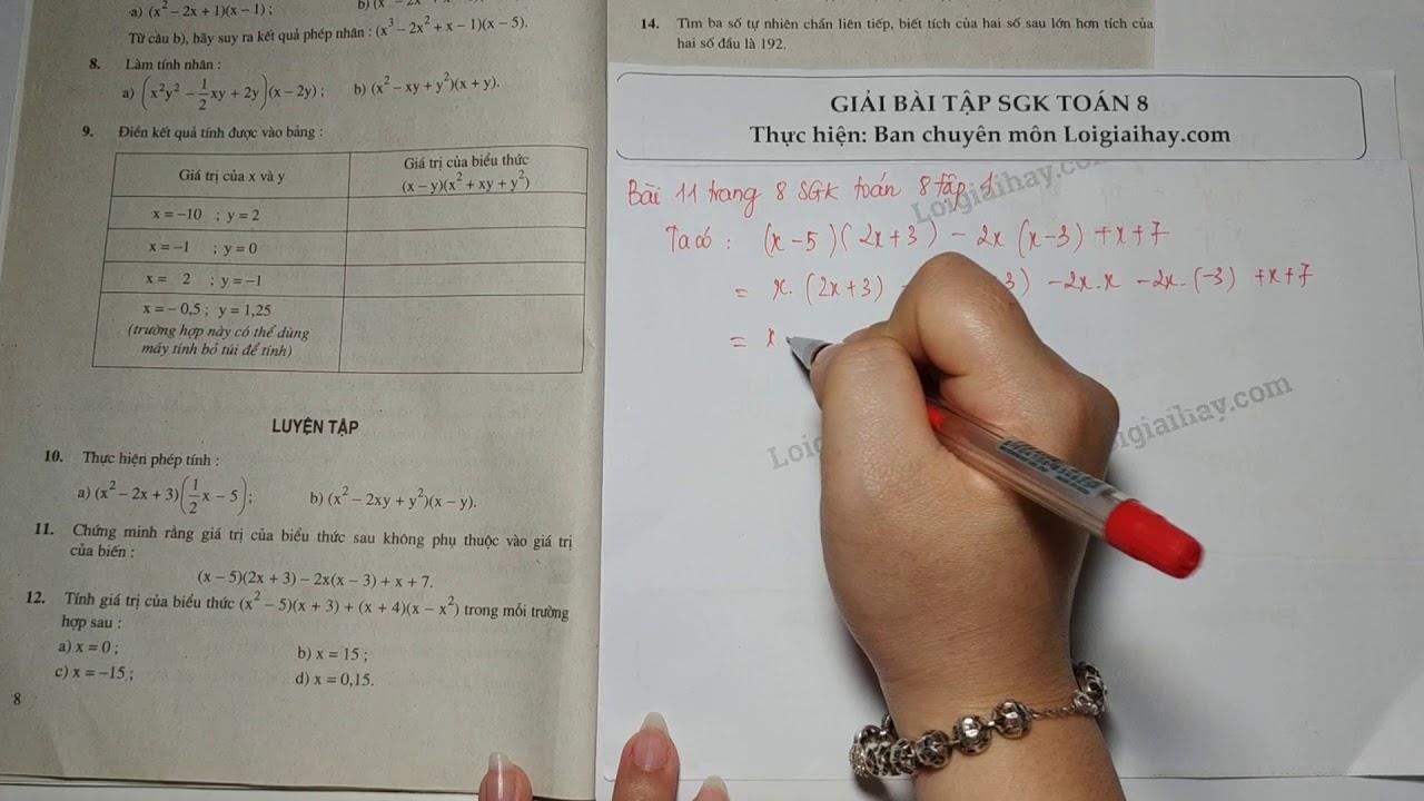 Giải bài 11 trang 8 SGK toán 8 tập 1