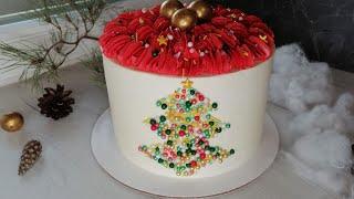 Новогодний простой торт Зимнее оформление торта Сладкая красота