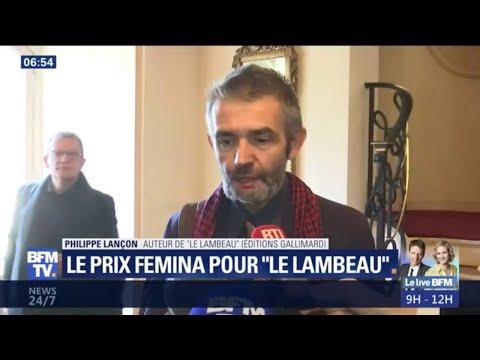 """Philippe Lançon reçoit le prix Femina pour """"Le Lambeau"""": """"On écrit en pensant aux morts"""""""