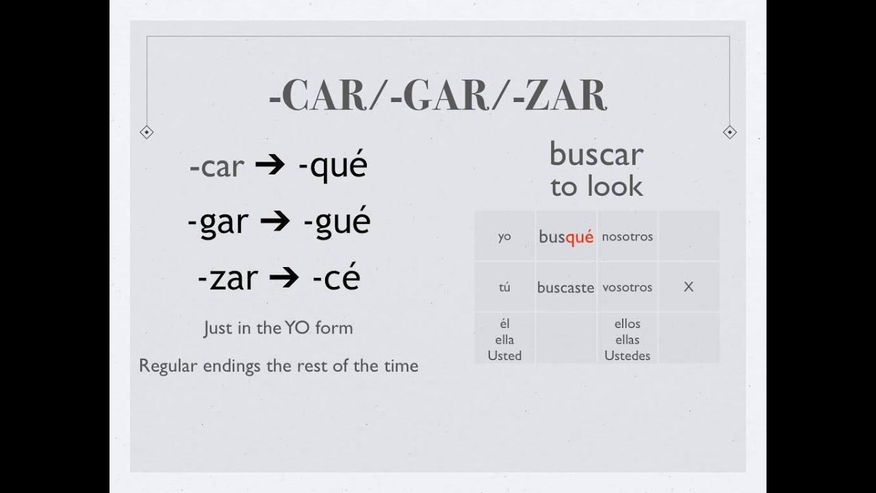 Car Gar Zar Verbs In The Preterite Tense