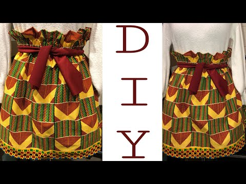 DIY How to Sew a Paper Bag Waist Elastic Ankara Skirt Step By Step for Beginners