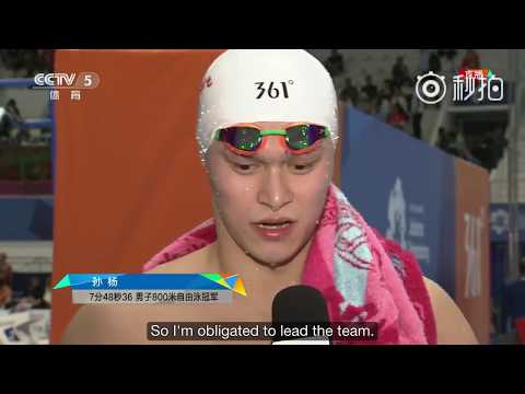 【SUN YANG】2018 Asian Game Men's 800m Freestyle Final + Interview