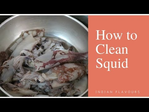 How to clean squid fish in tamil