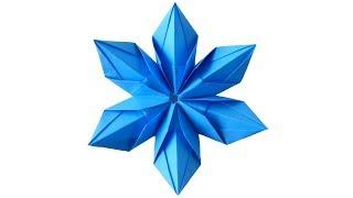 Origami snowflake Снежинка из бумаги. Оригами Снежинки на Новый год 2018