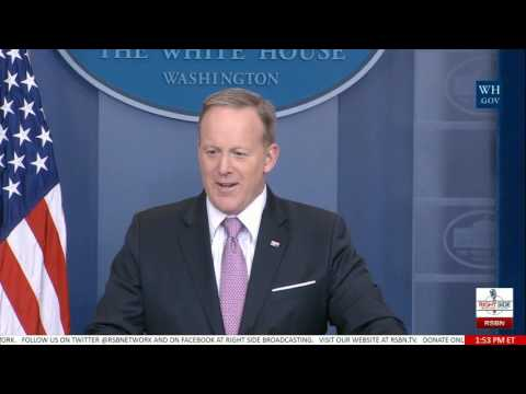 Sean Spicer Realizes His American Flag Pin Is Upside Down