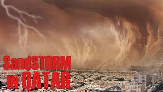 A terrible sandstorm destroy everything in its path!   Qatar has swallowed up the sand!