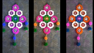 DIY - AWESOME WALL HANGING TORAN MAKING FROM HAIRBANDS HOW TO MAKE WALL HANGING TORAN FROM WOOLEN