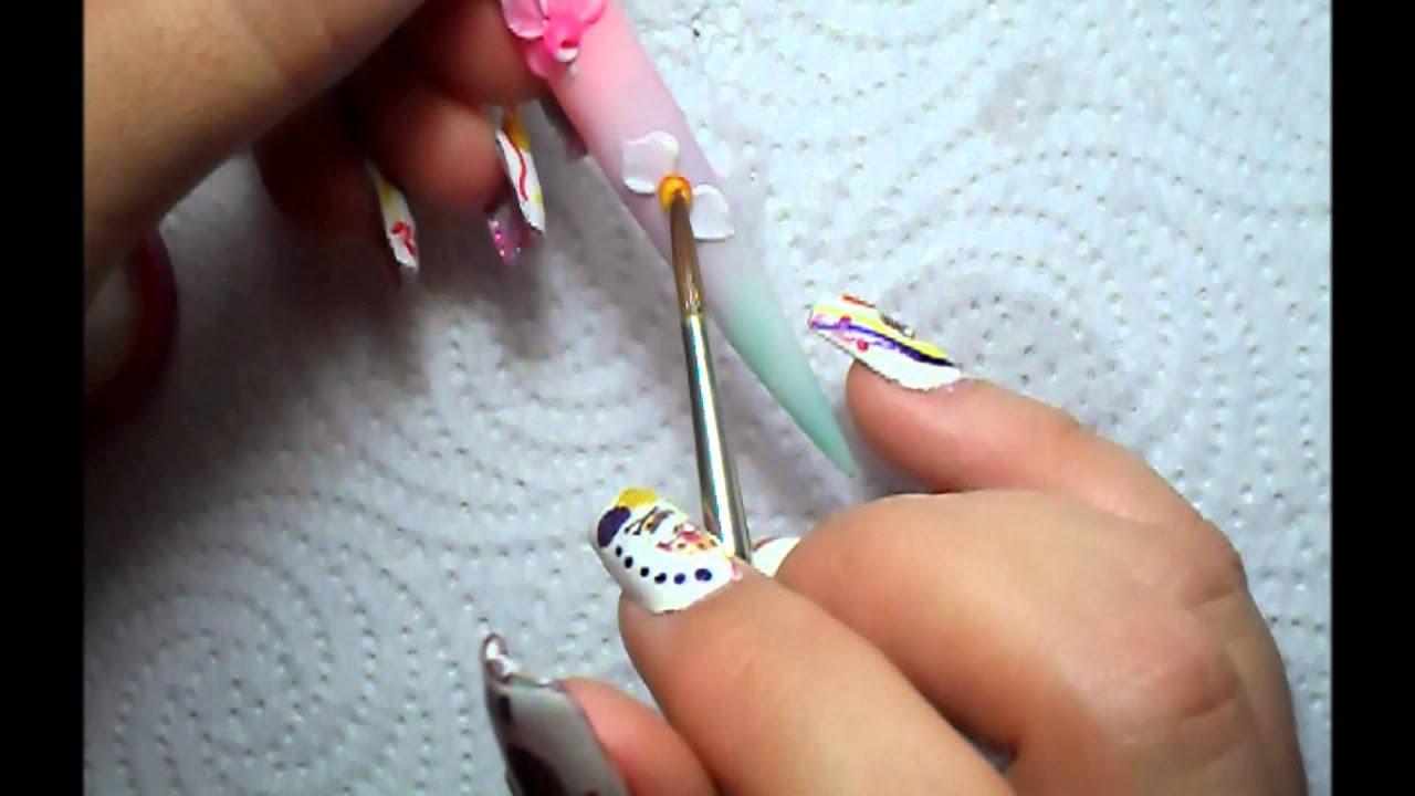 tecnica rusa y orquideas en 3d u u00f1as acrilicas   3d nail art