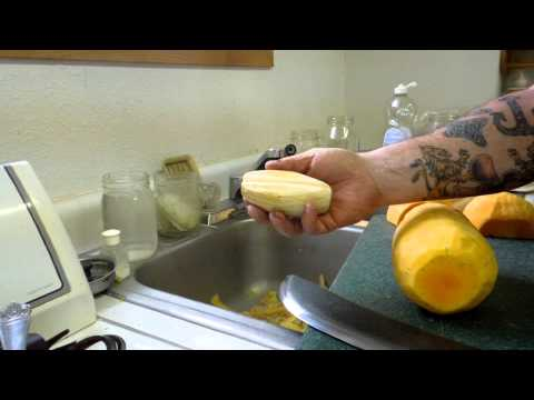 Preparing Butternut (winter) Squash for preservation by freezing
