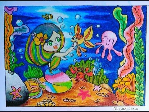 Cara menggambar dan mewarnai pemandangan bawah laut | mermaid (gradasi Crayon oil pastel)