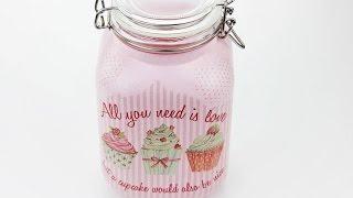 Decoupage jar - Easy & Fast Tutorial - DIY
