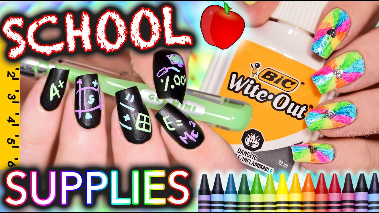 Back to School Nails using ONLY SCHOOL SUPPLIES!!! Challenge - YouTube