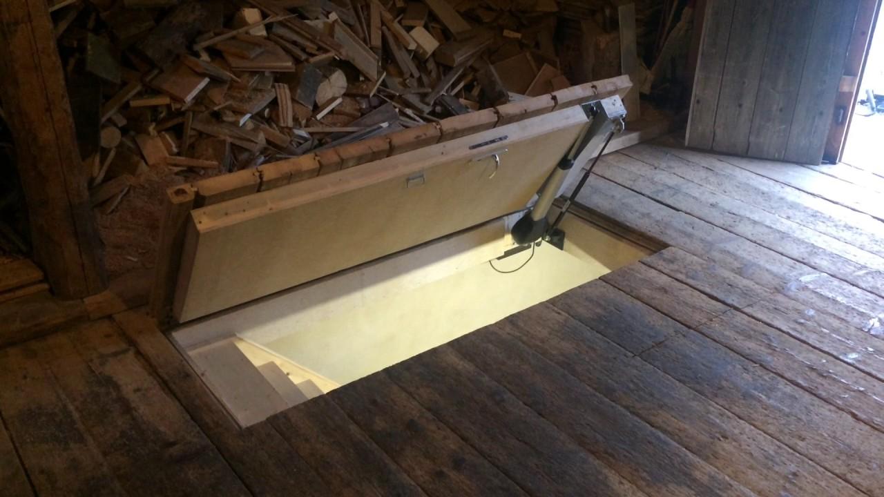 Motorisation trappe plancher youtube - Trappe de visite plafond avec echelle ...