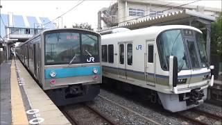 【2列車到着&発車】奈良線 221系 普通京都行き 205系1000番台 普通城陽行き 城陽駅