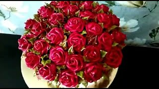 Торт корзина с вишневыми розами Кремовый торт корзина
