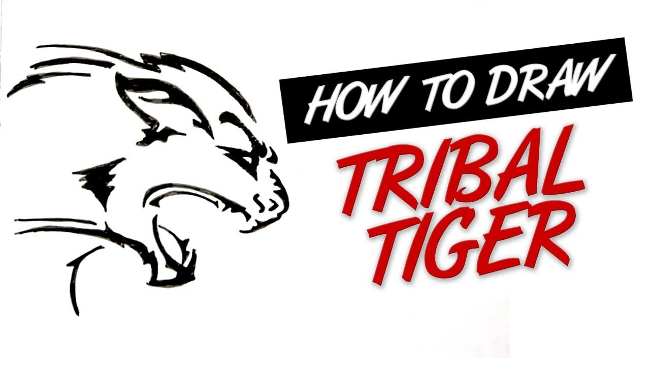 How To Draw Tribal Tattoo Tiger Design 13 Youtube