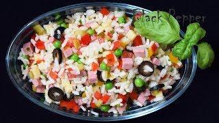 Салат с рисом, ветчиной и сыром | Шеф Black Pepper