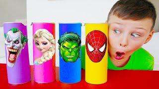 프링글스를 먹으면 무엇으로 변할까요?!  알리의 마법 프링글스 Making Pringles with elsa and Hulk