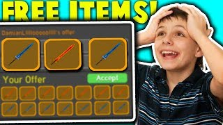 I gave the RAREST LEGENDARY TO STREAMERS if they win! (Overlords Manablade) | Roblox Dungeon Quest