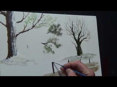 How to Paint Trees  Paint Snow in Acrylic for beginners