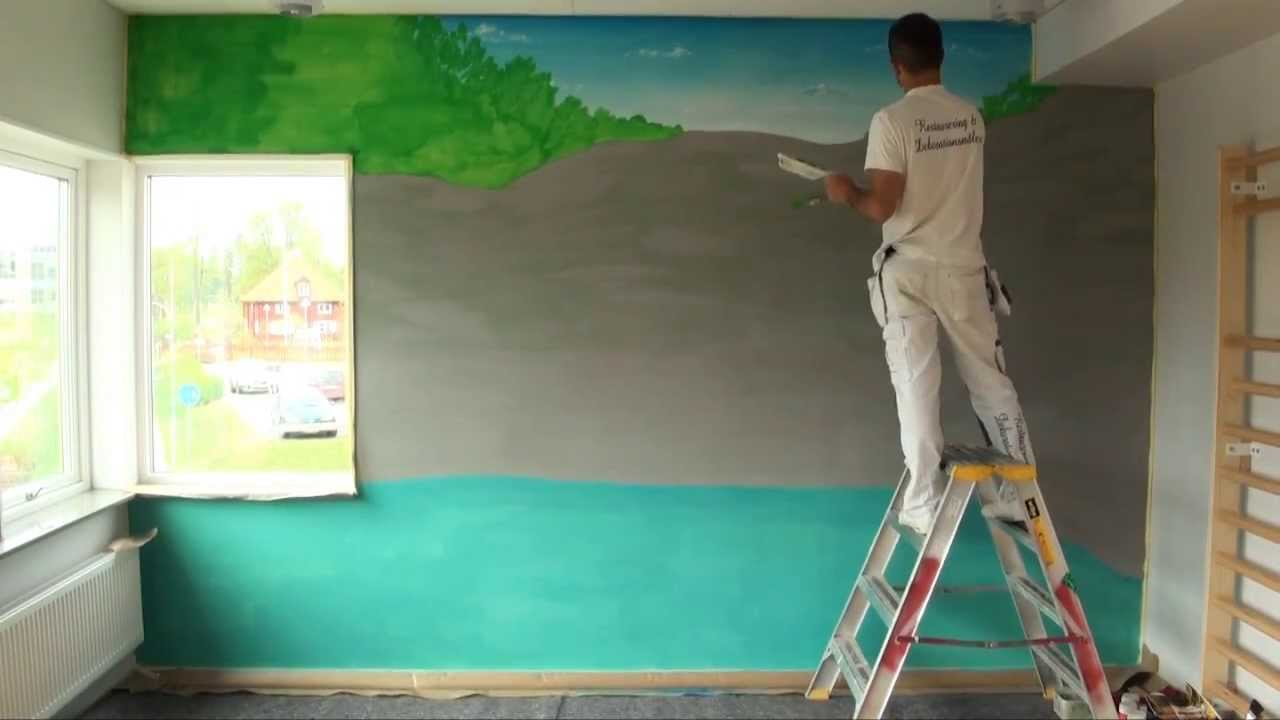 On The Wall Painting Wall Painting Waterfall Youtube