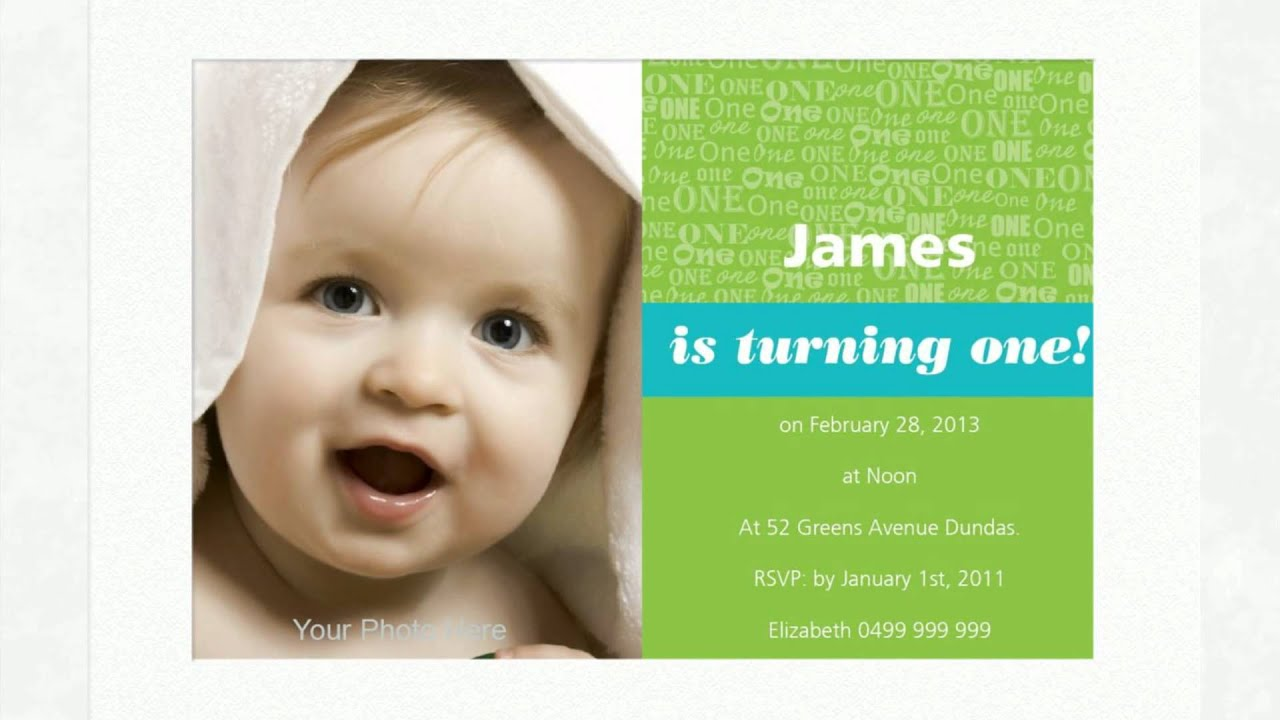 1st Birthday Invitations - YouTube