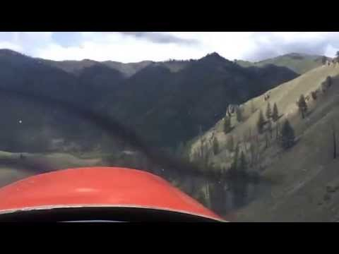 Take off from Cabin Creek USFS Airstrip in the Frank Church Wilderness Area, Idaho.  June 2013.