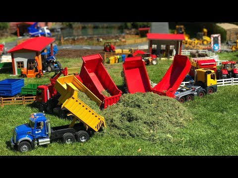 BRUDER TOYS dump TRUCKs hey transport action video