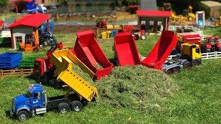 BRUDER TOYS dump TRUCKs hey transport action video