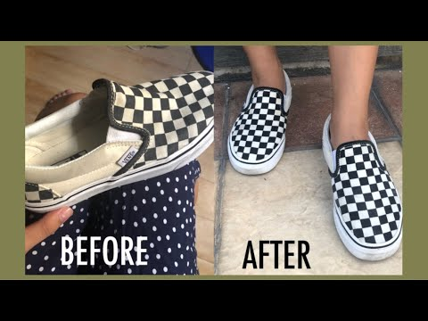 HOW TO CLEAN CHECKERBOARD SLIP-ON VANS (REPAINT) THRIFTED