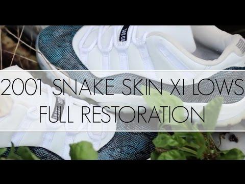 c3b9777c81c5f4 2001 Air Jordan Navy Snake Skin Low 11 Full Restoration - YouTube
