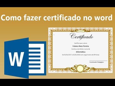 Como Fazer Certificado Personalizado No Word