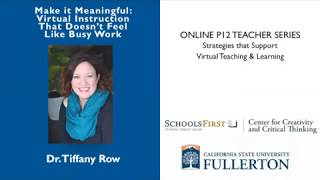 K12 Online Teaching Webinars: Make It Meaningful