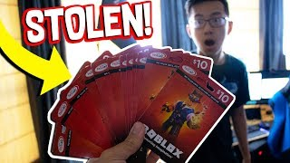STEALING ALL OF MY ROOMMATES ROBUX GIFT CARDS! (Roblox IRL)