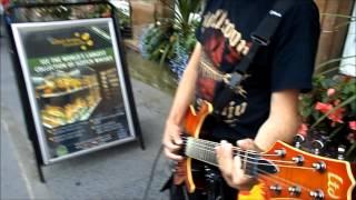 Mad Pig guitarist at the Edinburgh Fringe August 2014.