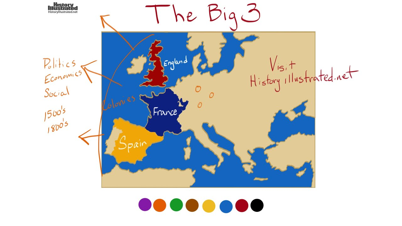 Map Of France England And Spain.The Big Three Spain France England
