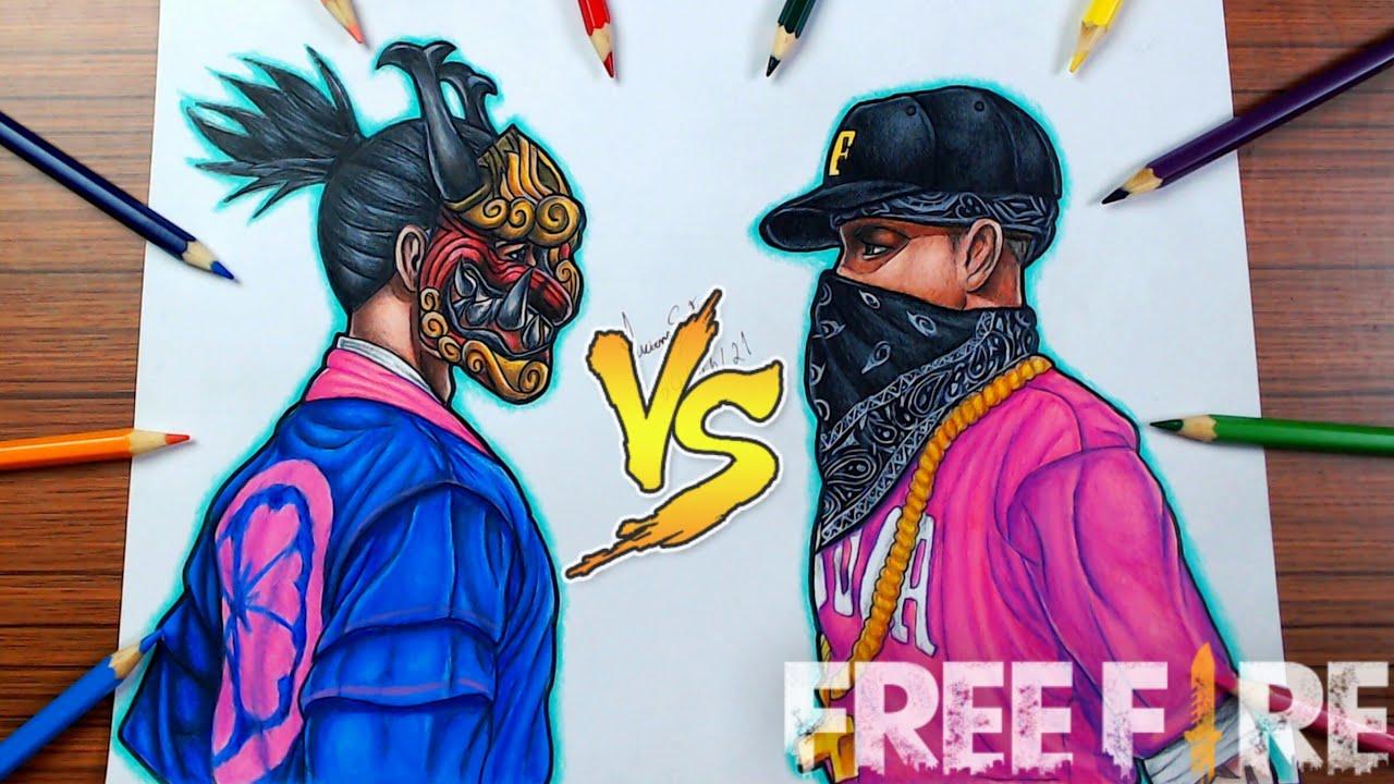 DESENHANDO SKIN DO PASSE SAKURA VS HIP HOP FREE FIRE - Dibujando free fire // Gambar Free Fire