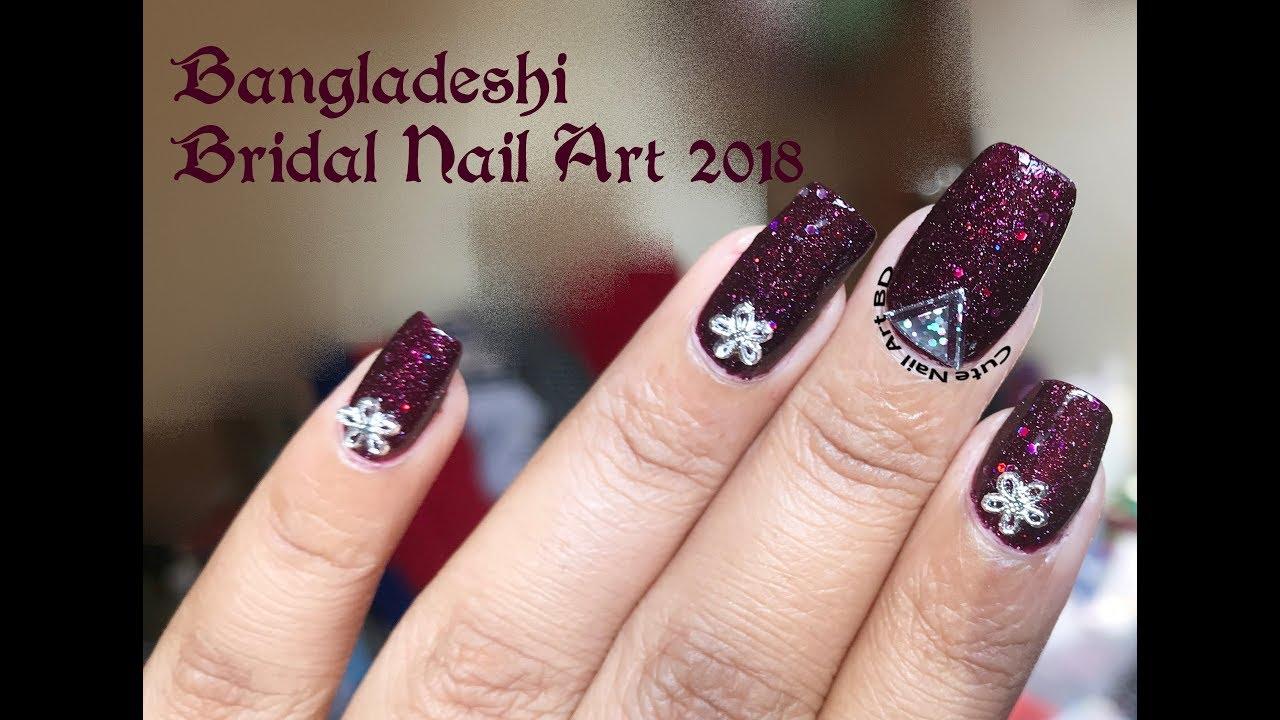 Nail Art 35 Simple Bangladeshi Bridal Nail Art 2018 Youtube