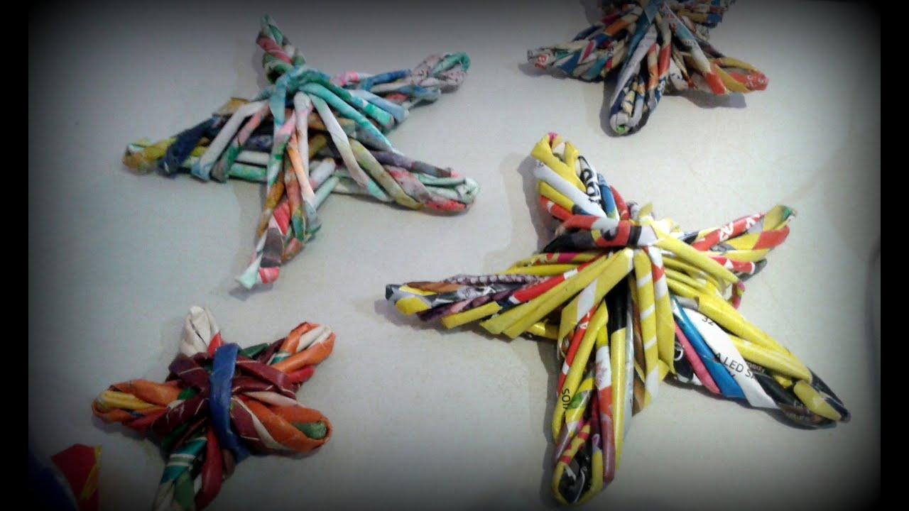Decoracion facil rapido economico reutilizando papel para - Ideas para decorar estrellas de navidad ...