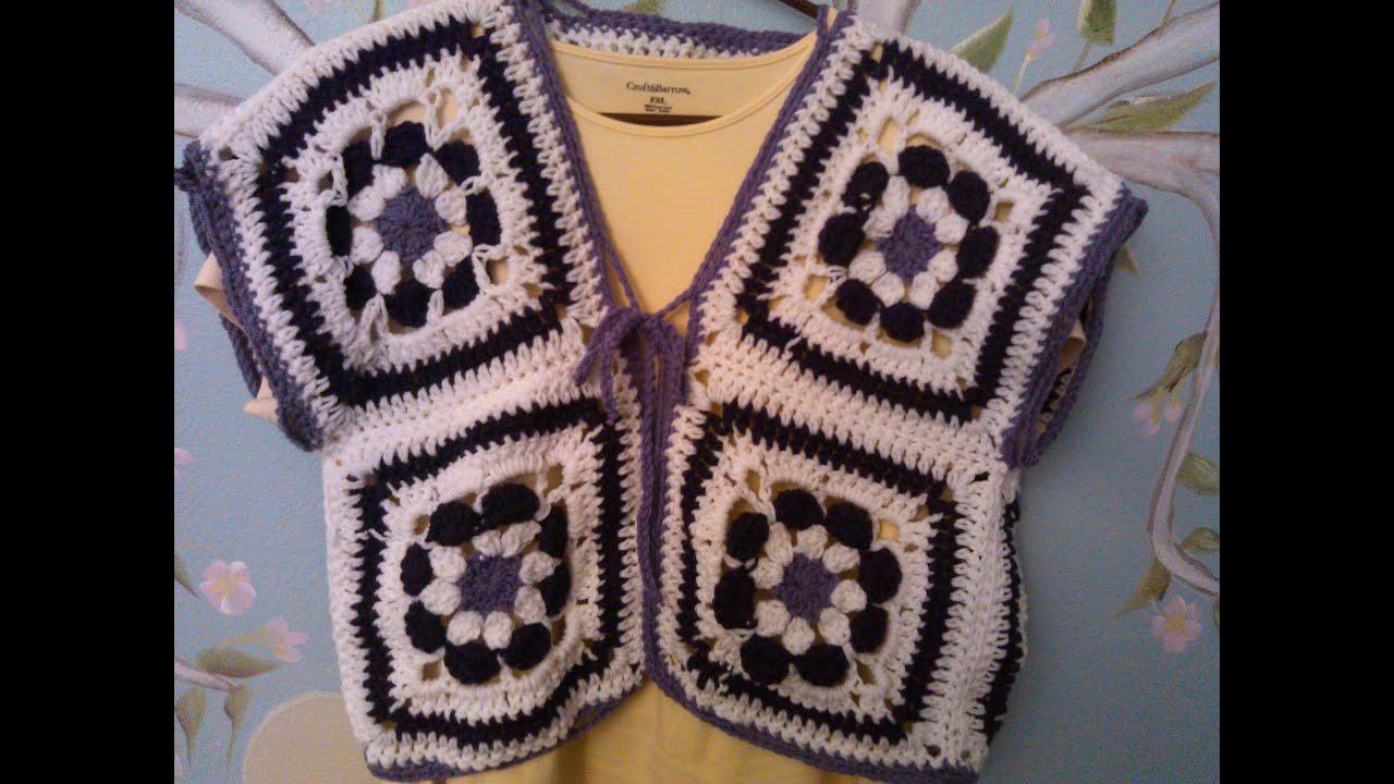 Crochet flower power vest bolero youtube izmirmasajfo Image collections